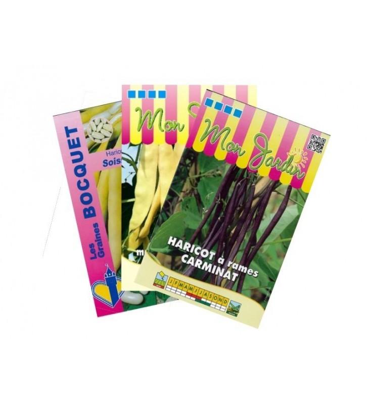 Lot de Haricots colorés à rames (3 sachets de graines à semer)