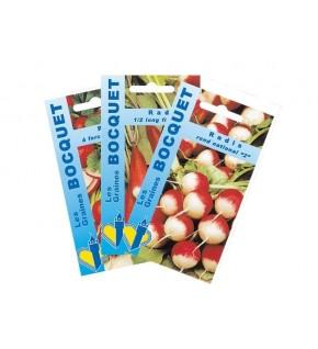 Lot de Radis aux Formes Variées (3 sachets de graines à semer)