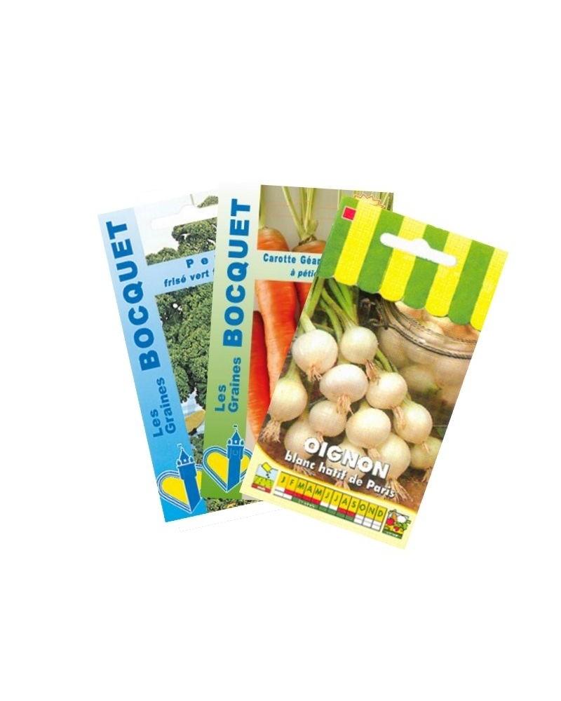 Oignon Blanc A Planter lot d'oignons et assortiment de légumes (3 sachets de graines à semer)