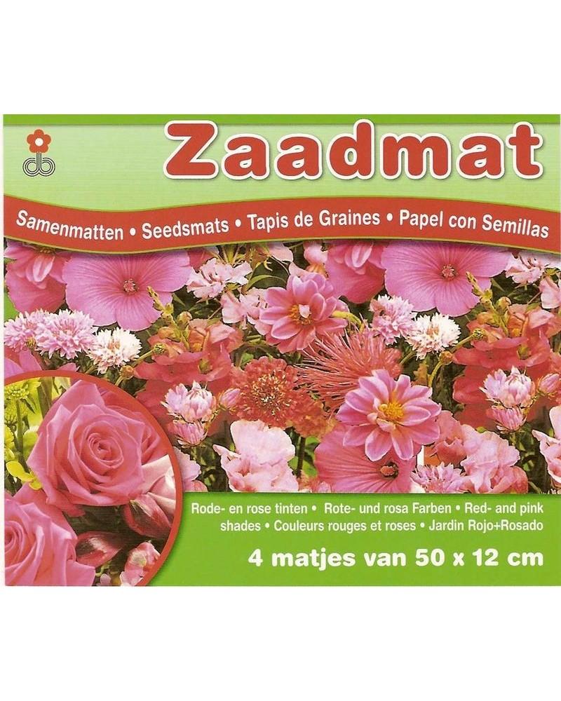 Tapis de graines de fleurs rose et rouge