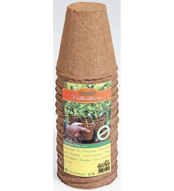 16 pots ronds 8cm biodégradables