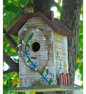 Nichoir maison peint Fleurs