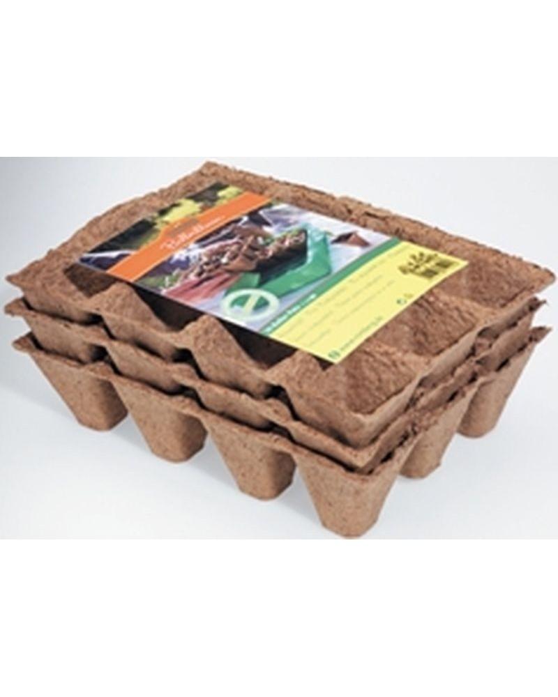 Plaques 36 pots biodégradables carrés 5cm